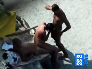 Nude Beach - Exact Bareback Threesome