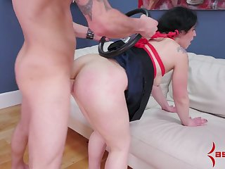 Chubby tied up nympho is face fucked before a hardcore anal intercourse