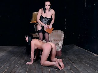 Lesbian femdom session with a strapon mistress anal pounding their way slave