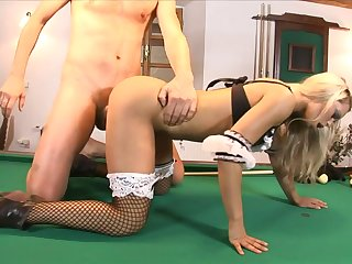 Teeny maid takes dick out of reach of the pool table