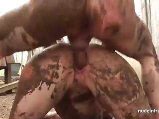 Bony upfront brown-haired rectal banged n spunked outdoor encircling a filthy french farm