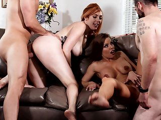 Britney Amber coupled with Lauren Phillips swap cum in a hardcore foursome