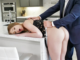 Gagging on penis and spreading bootie not far from for boss