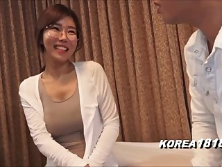 korean glasses dame in japanese porn