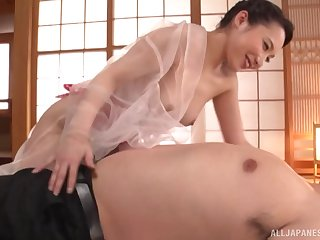 Japanese housewife Kichikawa Ren gives a soaking be suffering with blowjob