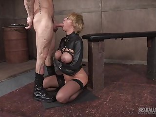 Tattooed mature short haired blonde slave Dee Williams tortured