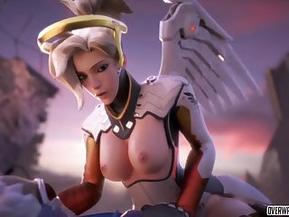 Horny blonde babe from Overwatch game called Mercy good-looking big Hawkshaw missionary style