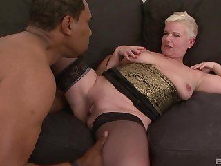 Mature short haired tow-headed DD gets cum on feature from a black mendicant