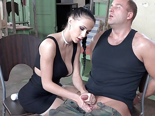 Sexy brunette function with dick of military