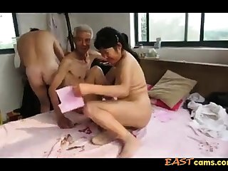 Asian Grandpa Trio with mature woman