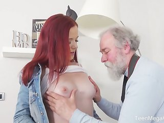 Lickerish redhead Tiffani Love flashes will not hear of bum and gets fucked by old photographer