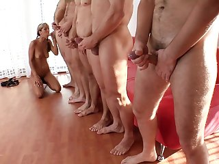 Bush-leaguer with sexy pigtails, insane group sex and blowjob
