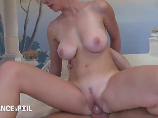 Busty blonde housewife with big naturals rides dick for cum