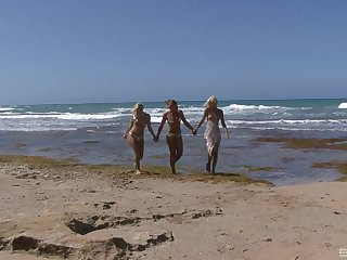 Boroka Bolls and her blonde friends reverence having lesbian fun on a seashore