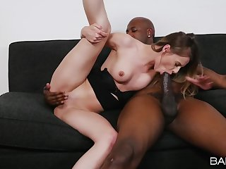 Interracial shacking up on the bed with shaved pussy Jillian Janson