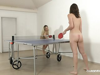 Pretty ping-pong players disrobe after the game for girl-on-girl enjoyment