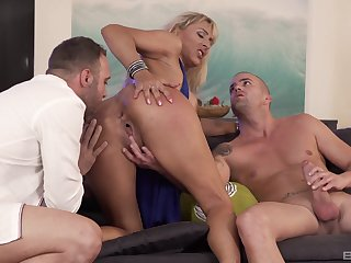 Whorish Lana Vegas is at her finest almost two cocks in the room