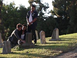 Black guy bangs his hot girlfriend Jazabel Vessir and Sadie Santana