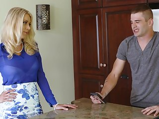 Sex-starved milf Katie Morgan is fucked hard by handsome stepson Nathan Bronson