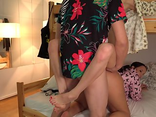 Man fucks these twosome roommates and cums on their faces
