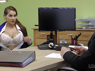 Ample breasted babe Mischel gives a blowjob plus gets fucked for loan