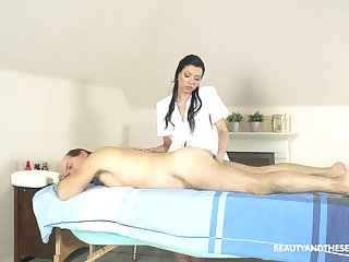 Exclusive massage with the masseuse purveying happy end