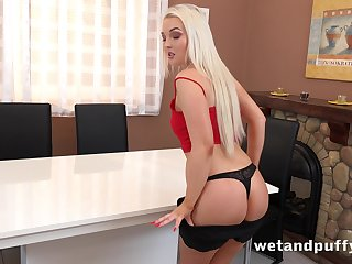 Hot and blazing blonde toddler Lovita Incidental is happy to work insusceptible to her wringing wet pussy