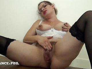Hairy Big Beautiful Woman Round White Lingerie