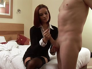 Be experiencing mommy jerks son's load of shit on utter CFNM