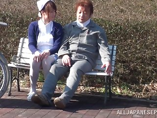 Kinky Asian care gets her cunt banged outdoors by a patient