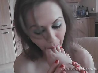 Kinky babe Tina Kay loves masturbating with a friend in the sky the couch