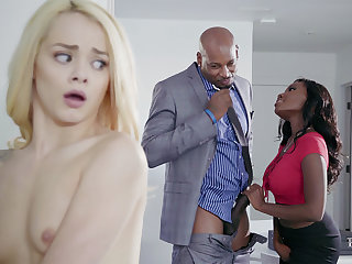 Housewife with the addition of spouse with BIG BLACK Flannel poke nubile blondie