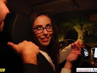 Babe in glasses Casey Calvert is fucked hard away from one freakish passenger