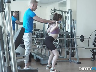 Massive inches after a seductive workout at the gym