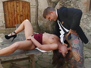 Outdoor dicking on the table with sweet Adriana Chechik - HD