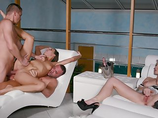 Group fucking on the balcony more Mia Melone and Licky Lex
