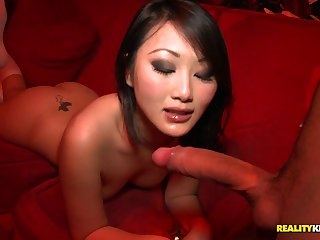 Slim chinese damsel in knee highs takes wood foreign the back in public