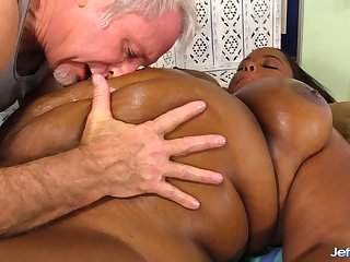 Black Plumper Olivia Leigh Lets a Masseur Look up to Her Big Incomparable Body