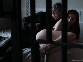 Ginger arrested hottie Maya Kendrick is fucked by horny elder stud
