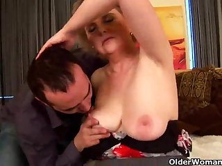 Granny with big titties and Victorian pussy rides load of shit
